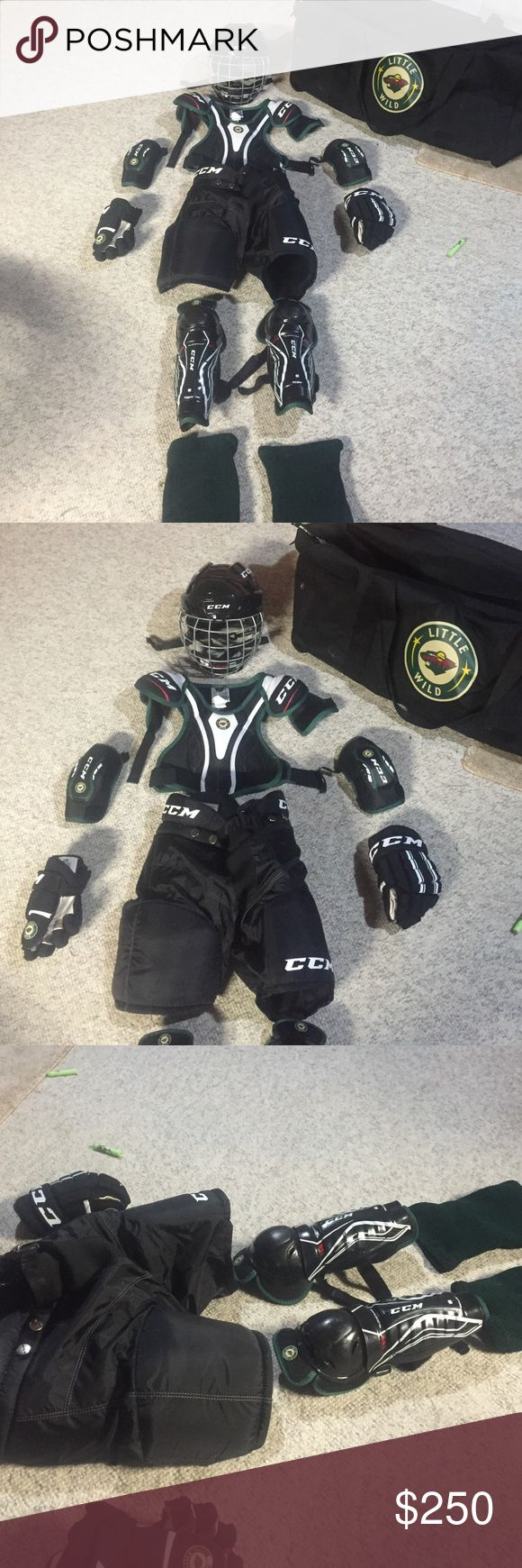 "All the YOUTH hockey stuff you need - all bundled. ***will only sell to local area**  will not ship **Selling hockey stuff absolutely perfect condition.  Helmet(small -25) chest pad (youth large 24""-28"",61-71cm). Elbow pads (youth large 4.0-4.4"") gloves (10""/26cm). Hockey pants (youth large 22""-24""/56-61cm. Shin pads (large 9""/23cm) and green shin socks.   This bag fits everything!   Great buy!   Original price for all items including bag is $350.  I'm selling for 100 Other"
