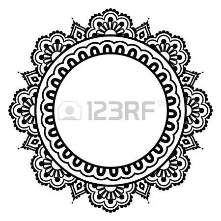 mandala: Indian Henna floral tattoo round pattern - Mehndi
