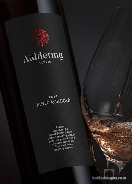 Wine Photography for Marketing and Advertising: Aaldering Estate Pinotage Rosé. www.bakkesimages.co.za