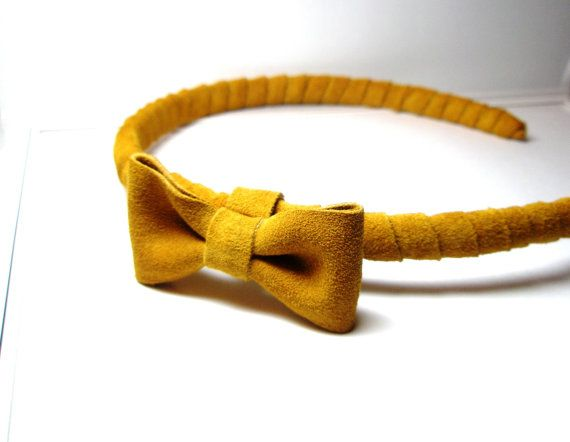 Hairbow Leather Suede Wrap Mustard Yellow  by LeatherAndFlower, $39.00
