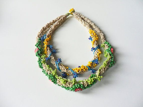 Crochet Layered Necklace Beaded Necklace Colorful Necklace by EFCI