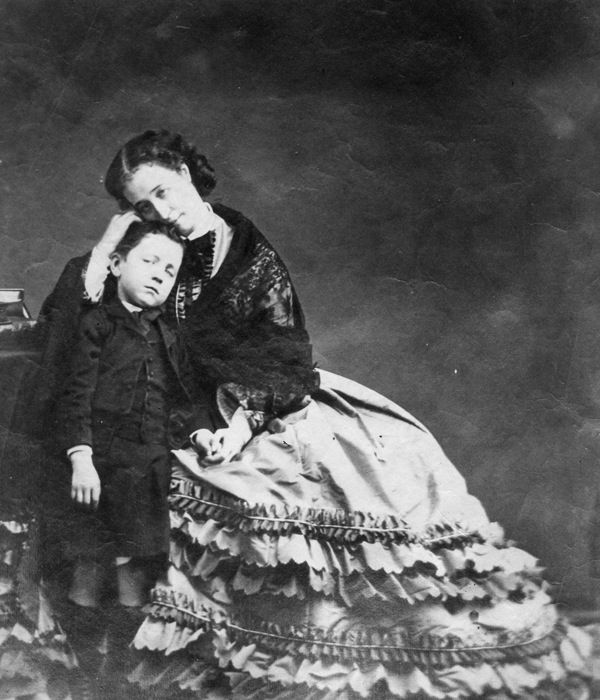 The Prince Imperial with his mother, Eugenie, Empress of the French. 1862. Photographed by: Disderi