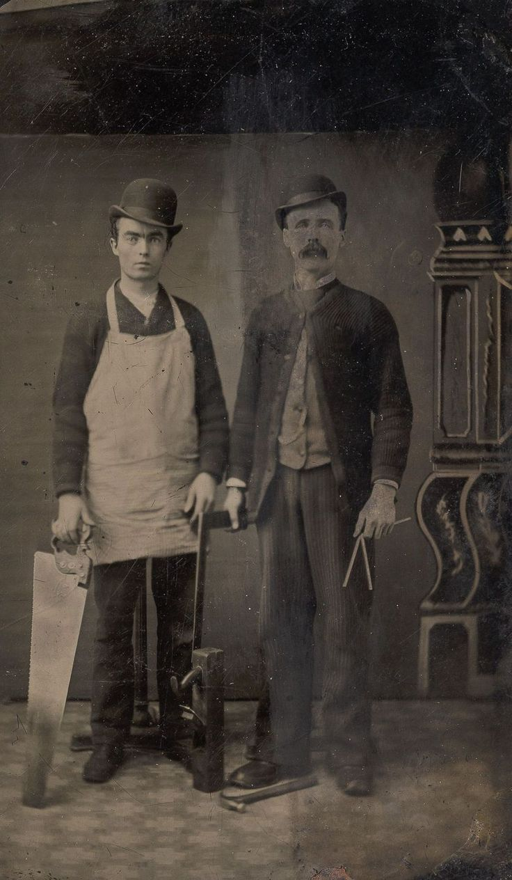 Late 1800s workers pose with the tools of their trade. The affordability of the tintype photo process allowed everyday carpenters and masons to have their portraits taken with their trusty saws and spades. Photo-essay from Retronaut/Mashable