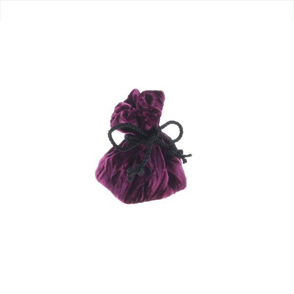 Bolsa para anillo en terciopelo granate, con cordón negro