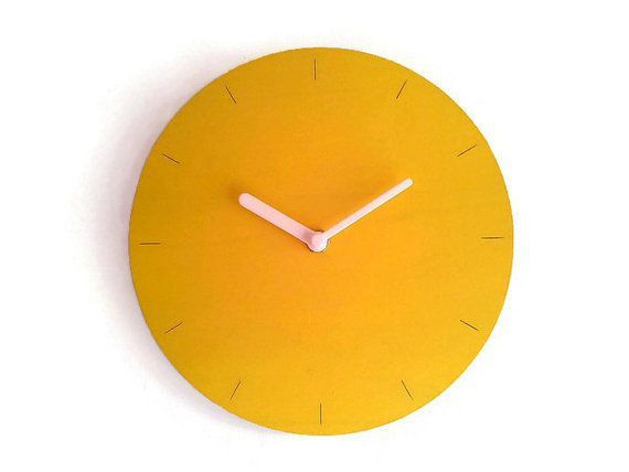 Laser Cut Wood Minimalist Clock,round Clock,kitchen Clocks,hand Painted  Clock,