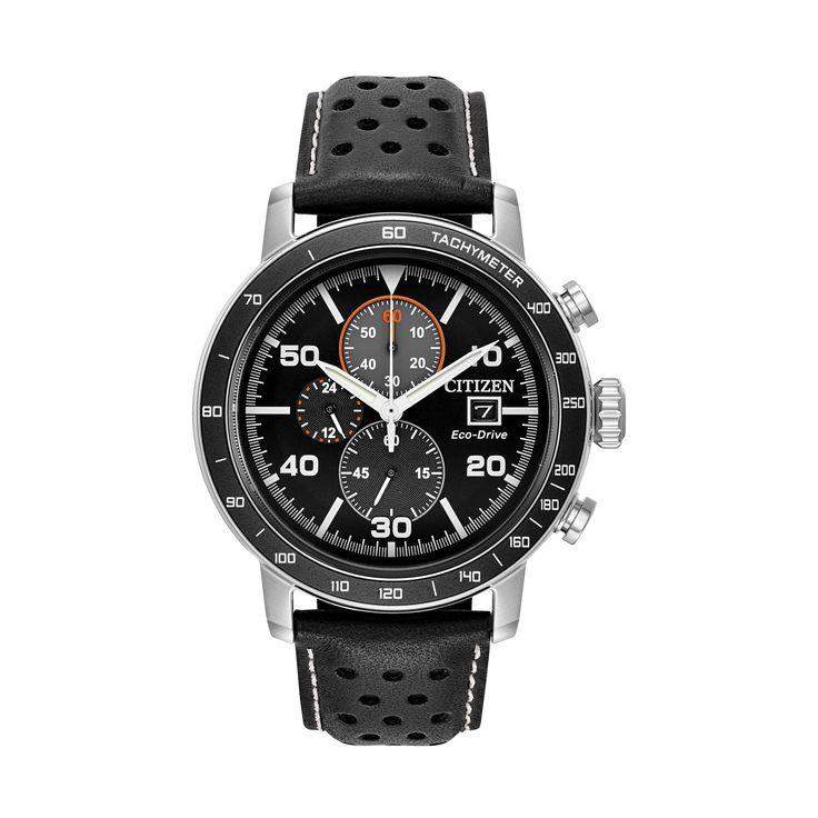 BRYCEN  Modelo: CA0649-14E  Este elegante reloj cuenta con caja de acero inoxidable, bisel chapado en aluminio negro, correa de cuero color negro, carátula en negro, cuenta con cronógrafo de 1/5-segundo que mide hasta 60 minutos, tiempo de 12/24 horas y fechador.