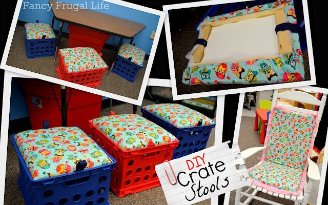 DIY Padded Crate Stools for classroom or playroom