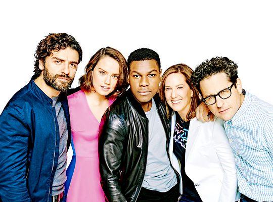 Oscar Isaac (Poe Dameron), Daisy Ridley (Rey) , John Boyega (Finn), Kathleen Kennedy (Head of Lucasfilm), and J.J. Abrams (Director)