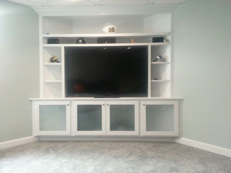 Basement corner entertainment center
