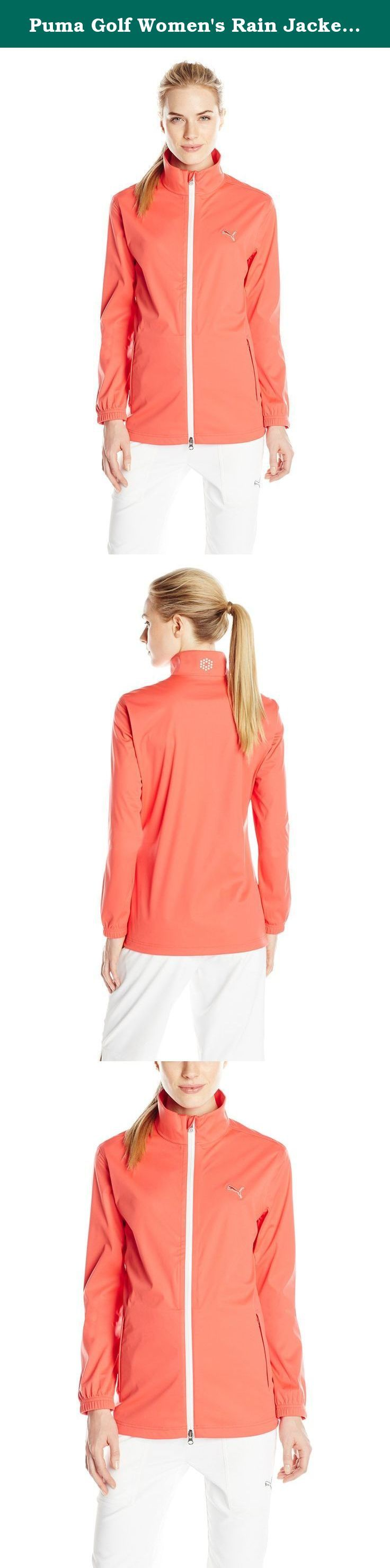 Puma Golf Women's Rain Jacket, Small, Cayenne. Playing in soaked clothes doesn't help your game. Not to mention that it feels Plain awful. The golf rain jacket turns those hazardous and dismal conditions to your advantage. Its storm cell properties - waterproof fabric, front zipper and pockets - help keep you drier than that martini waiting for you at the 19th. (You earned it, Champ.).