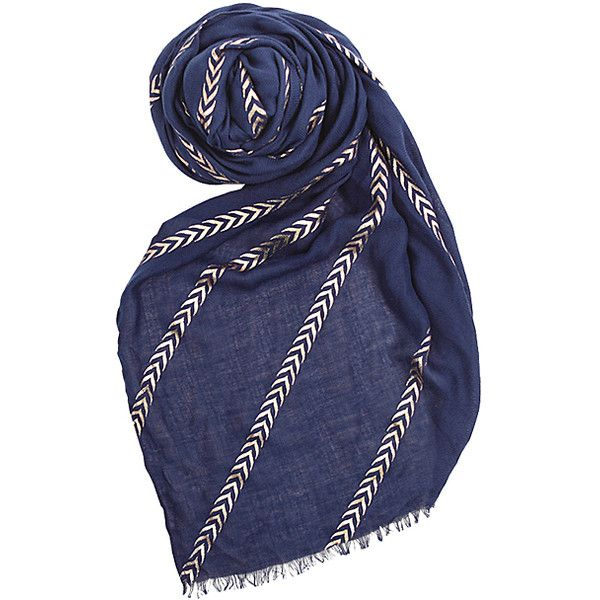 Printed Village Blue Metallic Chevron Stripe Scarf (€14) ❤ liked on Polyvore featuring accessories, scarves, long shawl, printed village, metallic scarves, blue shawl and patterned scarves