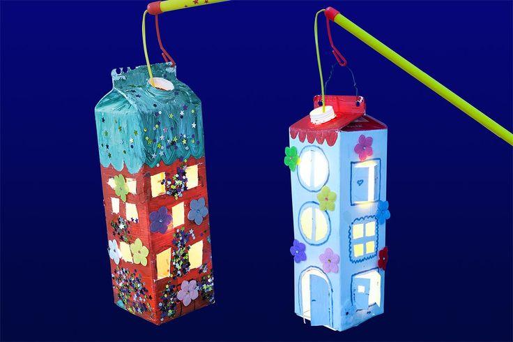 Wir zeigen, wie ihr Laternen aus Milchkartons oder Tetrapacks basteln könnt. ✓ Eine Upcycling-Idee für Laternen mit Fotos und Schritt-für-Schritt-Anleitung
