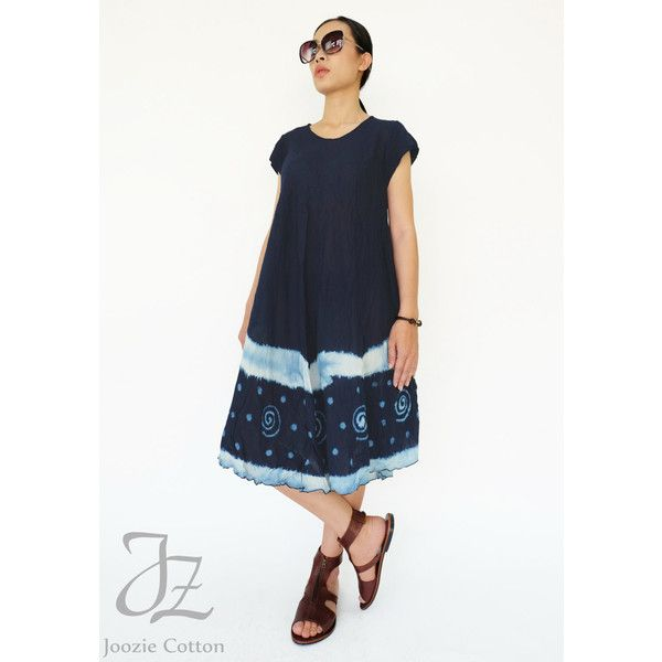 No.88 Indigo Blue Cotton Tie Dyed Tunic Dress Short Sleeve Tie-Dye... ($45) ❤ liked on Polyvore featuring dresses, blue, women's clothing, short sleeve dress, blue skater skirt, tie dye dress, white see through dress and white sun dress