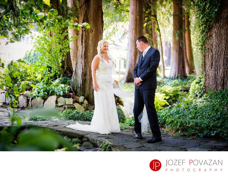 Best Award winning Vancouver wedding photographers Povazan Photography - Rowena's Inn Wedding First Look groom knocked from feet: Rowena's Inn Wedding First Look groom almost knocked from his feet after seeing his bride. Story captured by Vancouver wedding photographer Jozef Povazan. Location: 14282 Morris Valley Rd, Harrison Mills, BC V0M 1L0.