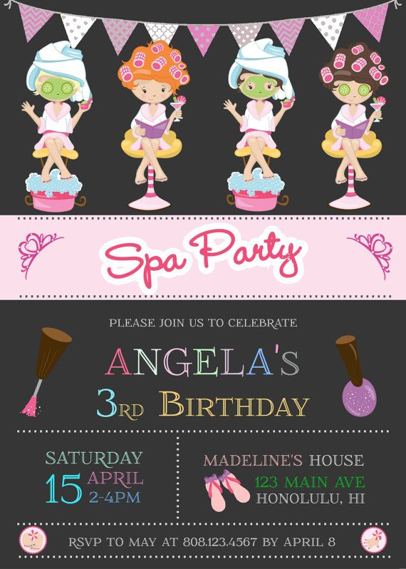 Spa Invitation Spa Party Invitation Spa por StrawberryPartyPrint