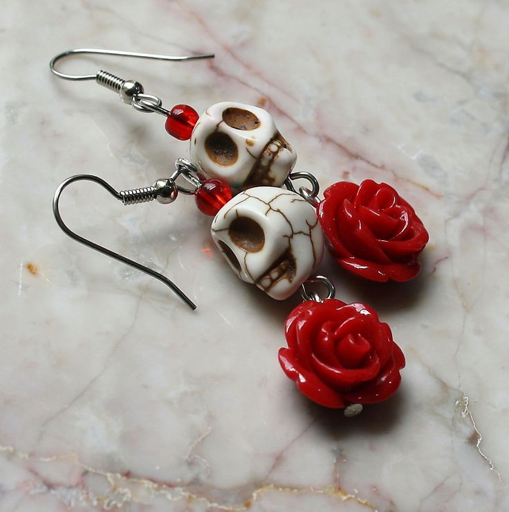 Day of the Dead Dia de los Muertos Frida Kahlo Señorita Red Rose Turquoise Sugar Skull Dangle Hypoallergenic Earrings. $10.00, via Etsy.