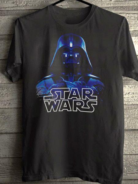 2d36e4207 Camiseta preta Star Wars Darth Vader masculina e feminina baby look ...