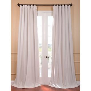 Signature Off White Velvet Blackout 108-Inch Curtain Panel These are my favorite.  Velvet is luxurious and sexy.  These are on sale on overstock.  You would only need one panel per window.