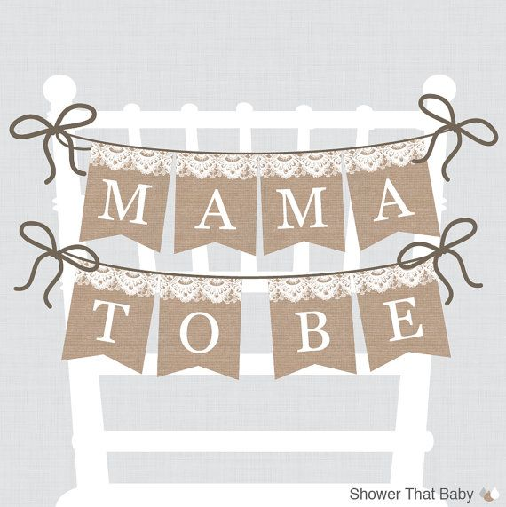 Burlap and Lace Baby Shower Chair Banner Printable Mama To Be Banner Mom To Be Sign Dad to Be Sign - Burlap Lace