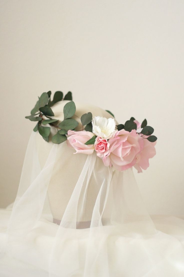 The Leighton Flower Crown created with dried eucalyptus leaves, blush pink roses, lilac and white wild cosmos by Love Sparkle Pretty | Bridal Flower Crown | Floral Crown | Flower Bridal Hair Styles http://lovesparklepretty.com/shop/leighton-flower-crown