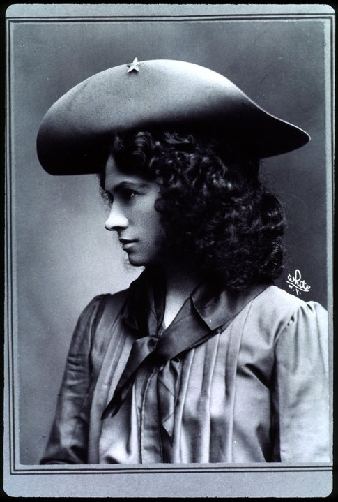 *ANNIE OAKLEY - born Phoebe Ann Moses in Ohio in 1860. Sharpshooter, 1st American female superstar. More info, worth the read at http://en.wikipedia.org/wiki/Annie_Oakley & Wild West Show Info http://www.annieoakleyfestival.com/about-annie-oakley.aspx