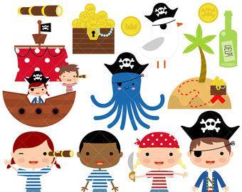 Piratas y piratas la nave Digital Clip Art por CollectiveCreation