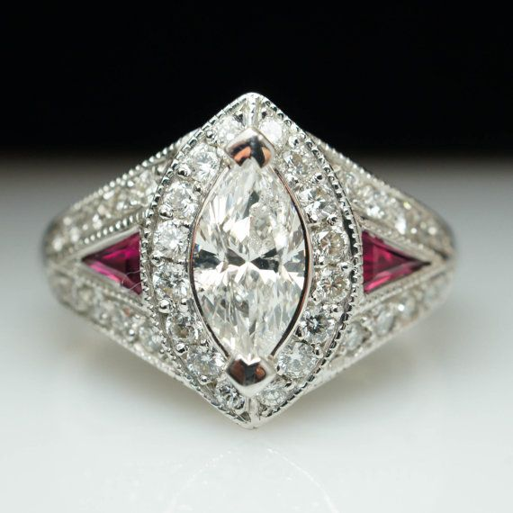 Vintage 2.40ctw Marquise Cut Diamond & Ruby Engagement Ring Marquise Halo Wedding Band Ring Antique Style