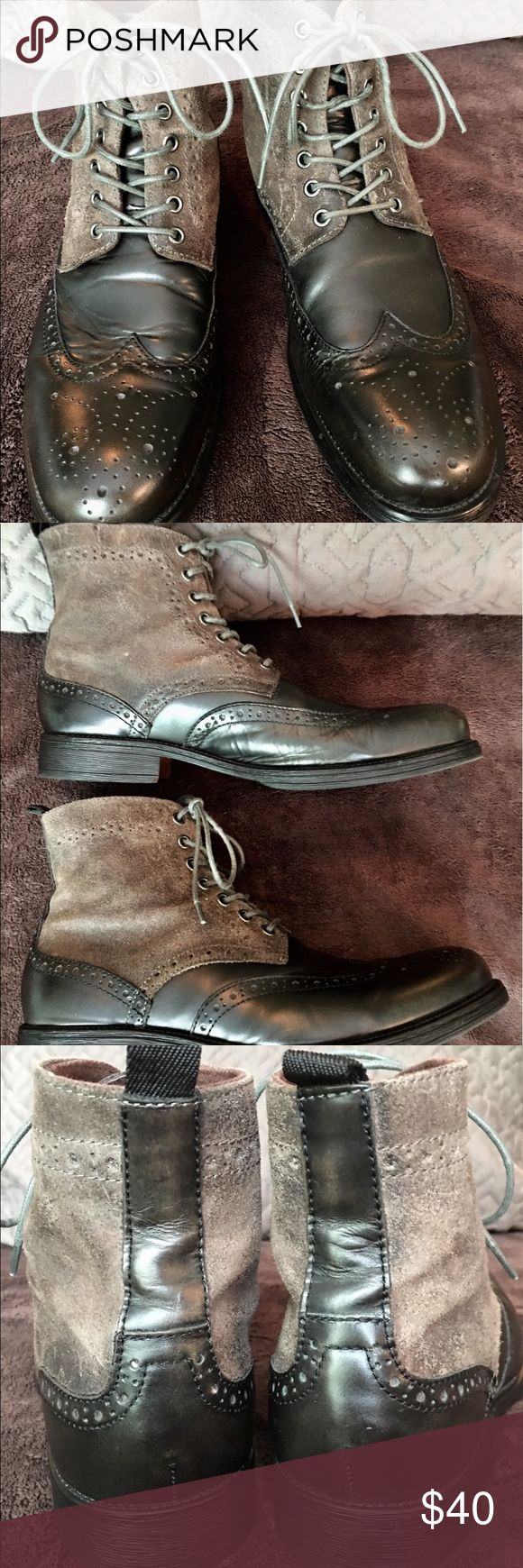 ASTON GREY COLLECTION BOOTS EUC ASTON GREY BROWN LEATHER BOOTS. Every man should have a fine pair of lace-up boots that convey an air of nostalgia and history. These are that pair of boots. A perfect combination of Edwardian era luxury with modern comfort. ASTON GREY Shoes Boots