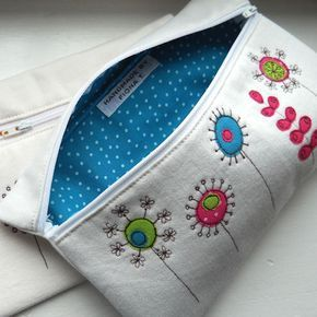 pencil case / make-up purse - embroidered flowers