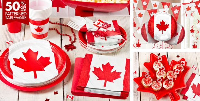Canada themed party supplies, everything I need for that Canada themed birthday party, except the bacon and maple syrup.