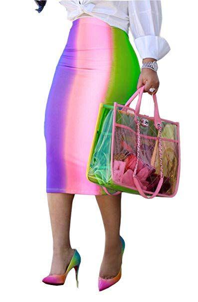 7d0e5cb44 MarcoJudy Womens Rainbow Striped Tie Dye High Waist Bodycon Midi Pencil  Skirt at Amazon Women's Clothing store: