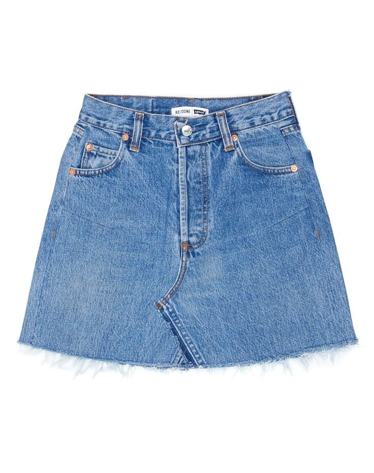 The RE/DONE High Rise Mini Skirt, made from repurposed vintage Levi's jeans, sits at your waist, maintaining its classic five-pocket style, and finishes at your mid-thigh with a raw hem. The shape of the skirt flatters where you want it to with the help of side darts. The faded button fly and other signs of wear make this one-of-a-kind mini your girly go-to for the summer. Vintage Levi's made in the American South circa 90s, RE/DONE in Los Angeles. High Hip: 34 1/2&quot...