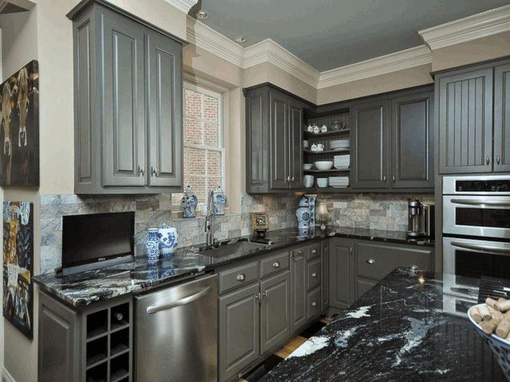 Rousing Black Granite Wall Grey Kitchen Cabinet Grey Wood ...
