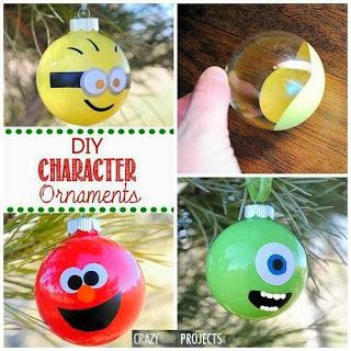 Christmas DIY ornaments Might actually make the minion one for Tommy. He'd be thrilled and it could be his ornament on our tree :)