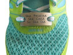 Use a she believe she could so she did running shoe charm to inspire your running
