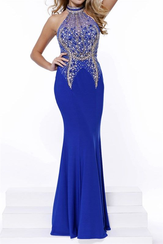 oyal Blue Sexy Fitted Halter Jersey Long Prom Gown