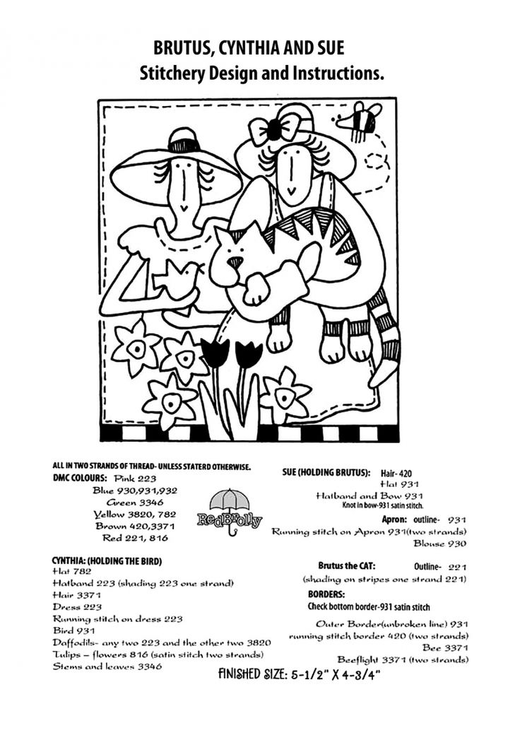 """FREE Red Brolly Cat Stitchery pattern: Catalicious B.O.M Quilt. """"Brutus, Cynthia & Sue"""" Block"""