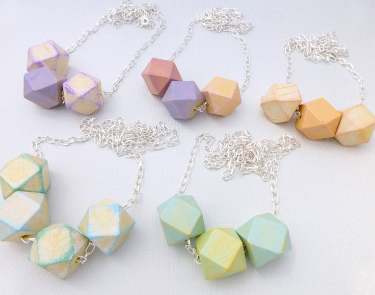 Pastel Geometric Bead Necklaces  available at Whimsy & Grace NZ