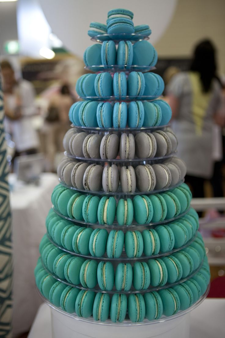 Blue-green macaron tower for the dessert table