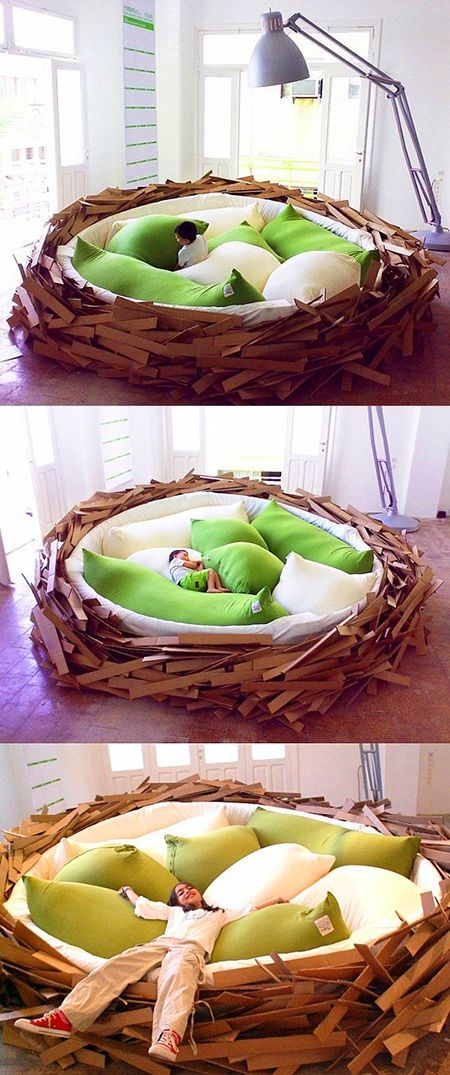 Custom bed looks like a giant bird nest, might be the