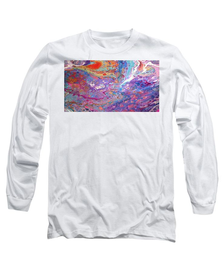 Liquid Acrylics Vibrant Lively Colorful Compelling Extraordinarily Beautiful Blue Dominates Gold Orange Purple Pink Turquoise Fuschia And White Long Sleeve T-Shirt featuring the painting #149 Wet Pour by Expressionistart studio Priscilla Batzell