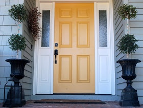 forever*cottage: Cottage style curb appeal.....my YELLOW door!: White Houses, Cottages Style, The Doors, Front Doors Colors, Forever Cottages, Stuart Gold, Curb Appeal, Benjamin Moore, Yellow Doors