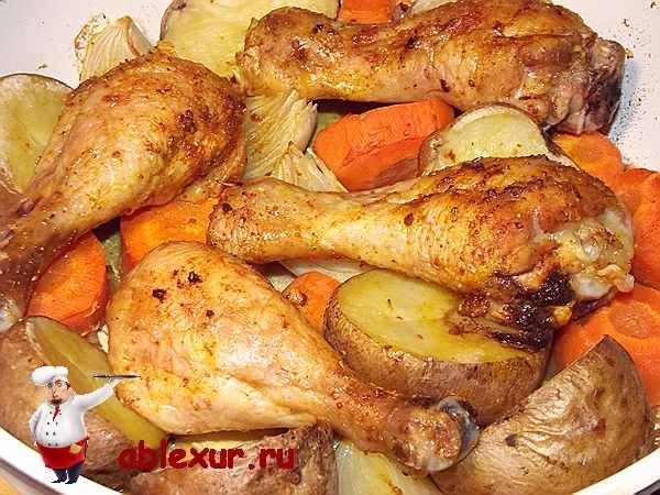Куриные ножки запеченные в духовке с овощами