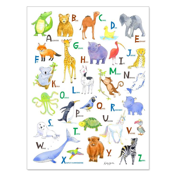 Alligator! elephant! Giraffe! Penguin! Just a few of the animals your little one will learn about with this adorable Animal Alphabet print.