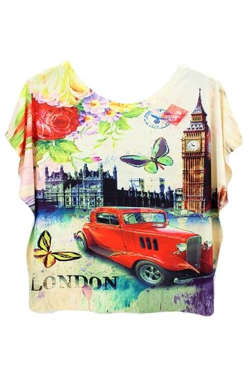 Pink Car And Butterfly Printed Batwing Sleeve Charming Ladies T Shirt - PINK QUEEN