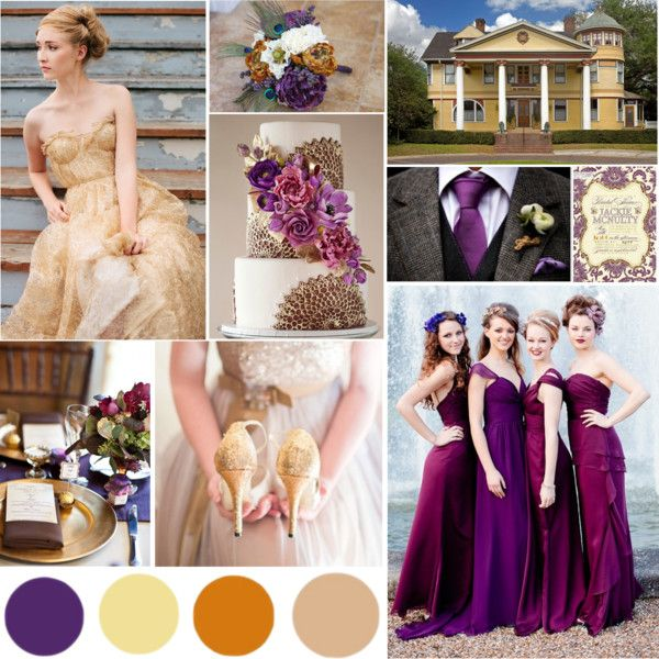 Plum, Gold, Copper, Tan #wedding
