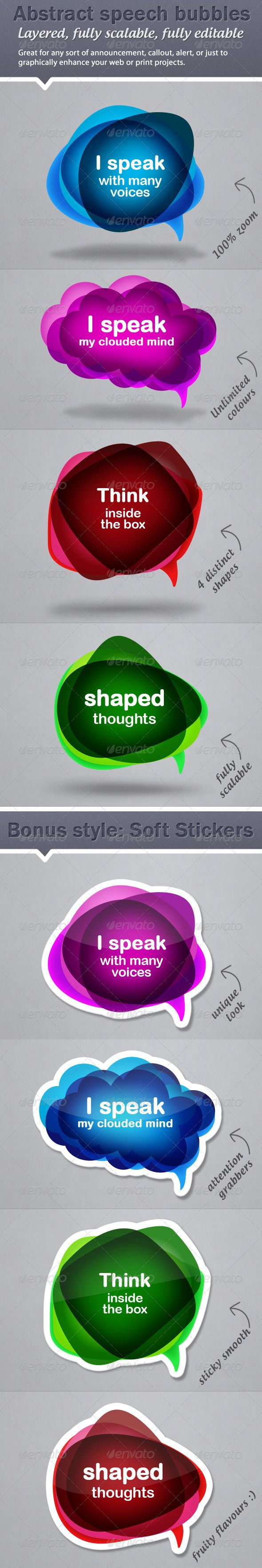 Colourful, Abstract Speech Bubble Callouts  #GraphicRiver         Please click here to view the extended preview for all included presets for shapes and colours.  	 I proudly present my unique, colourful and abstract speech bubbles. They are intended mainly for web use to make any sort of announcement, alert, callouts, to highlight a new product or service, or to simply to enrich and enhance your site design. Other usage could also include adding colourful extras to Flyers and handouts or…