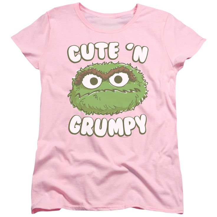 Sesame Street Cute N Grumpy Pink Womens T-Shirt