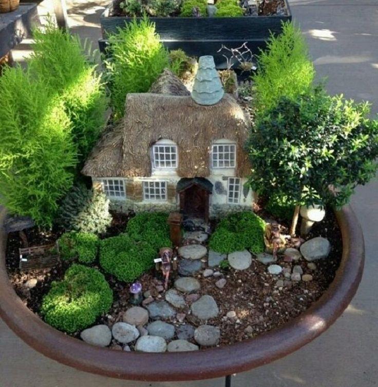 C mo hacer un jard n en miniatura e im genes de algunos - Macetas de piedra para jardin ...