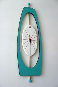 MID-CENTURY MODERN WALL CLOCK Designer Original! 36″ Tall! Starburst 1960s Era